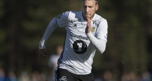 Nicklas Bendtner in action for Rosenborg in the Norwegian Cup last month. Photograph: Getty Images