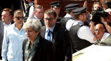 British Prime Minister, Theresa May, leaves Finsbury Park mosque, where one man has died, eight people taken to hospital and a person arrested after the vehicle struck pedestrians. Visits last week by May and her colleagues to the Grenfell Tower disaster sites have been badly handled, ineffective and twitchy.  EPA/SEAN DEMPSEY