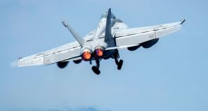F18 Super Hornet: the Pentagon says  one shot down a Syrian government fighter jet shortly after the Syrians bombed US-backed fighters in northern Syria on June 18th. Photograph: Jake Cannady/US Department of Defence
