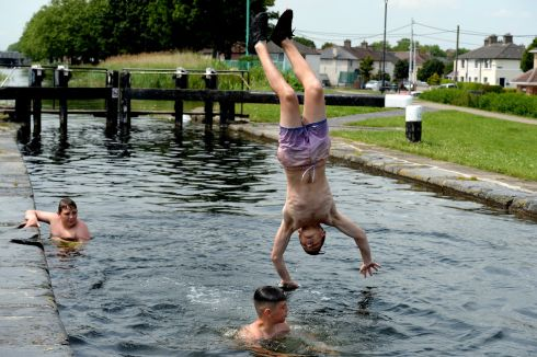 Cooling off in the canal at Rialto. Photograph: Cyril Byrne / The Irish Times