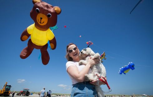 Emma Foley from Santry with her dog buddy at the Dublin Kite Festival.