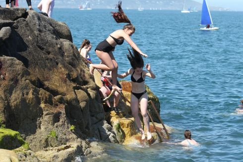 Enjoying the weather at the Forty Foot Dublin  on Saturday.
