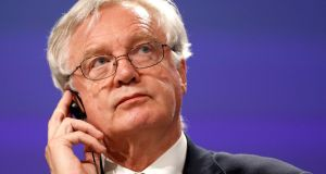 Britain's Brexit Minister  David Davis speaks at the European Commission after the first day of Brexit talks in Brussels. Photograph:  REUTERS/Francois Lenoir