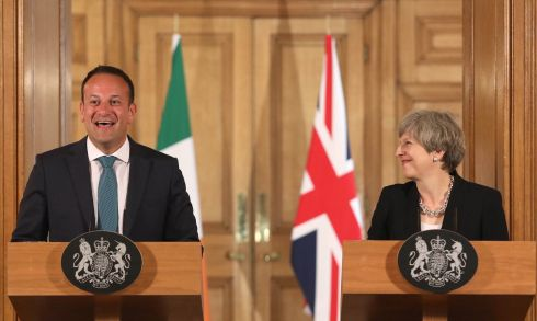 DUP QUESTIONS: British prime minister Theresa May and Taoiseach Leo Varadkar shake hands at a press conference after talks at No 10 Downing Street, London. Mr Varadkar said he had been reassured about the nature of a potential deal between the Conservative Party and the Democratic Unionist Party. Photograph: Philip Toscano/WPA Pool/Getty Images