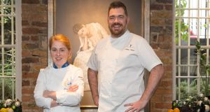 Euro-Toques Ireland young chef of the year 2016 Maeve Walsh with guest judge Nathan Outlaw, with whom she will begin working in the UK next month