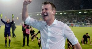 Dundalk manager Stephen Kenny celebrates after beating BATE Borisov last year. Photo: Ciaran Culligan/Inpho