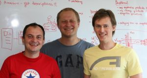 Profitero was founded in 2010 when school friends Kanstantsin Chernysh (r) and Dmitri Vysotski (c) from Minsk in Belarus joined forces with Volodymyr Pigrukh (l-r) to create pricing software for retailers