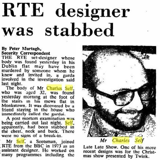 The 33-year-old Scotsman worked as a set designer for RTÉ. His designs included the set for Twink's Christmas special in 1981