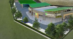 CGI of a new Applegreen petrol station and adjoining retail unit at the Navan Retail Park.