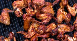 Delicious: Andy Noonan's  chargrilled hot wings seasoned with his all-rounder barbecue rub