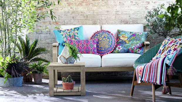 Embroidery on brightly coloured cushions gives an additional sense of texture as these four designs from Marks & Spencer demonstrate