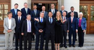 FAMILY PHOTO: Taoiseach Leo Varadkar with newly appointed junior Ministers at Government Buildings in Dublin. Photograph: Dara Mac Donaill/The Irish Times