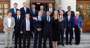An Taoiseach Leo Varadkar with his Ministers of State at Government Buildings. Photograph: Dara Mac Dónaill