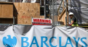 A Barclays branch being renovated in London, June 20th, 2017. Four of the most senior former executives at Barclays  - and Barclays itself - have been charged with conspiracy to commit fraud in relation to the 2008 credit crunch fund-raising that allowed the bank to avoid having to succumb to a government bailout.  Photograph: Luke MacGregor/Bloomberg