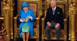 Britain's Queen Elizabeth II sits alongside her son Britain's Prince Charles, Prince of Wales as she delivers the Queen's Speech during the State Opening of Parliament in the Houses of Parliament in London on June 21st, 2017. Photograph: Arthur Edwards/AFP/Getty Images