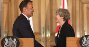 London visit: Theresa May looked at Leo Varadkar like he was the star of her own personal rom-com. Photograph:  Philip Toscano/WPA Pool/Getty Images