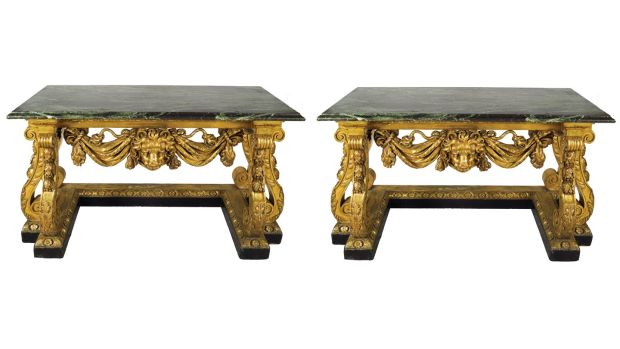 Lot 1,217, a pair of 19th-century carved giltwood console tables, €40,000-€60,000