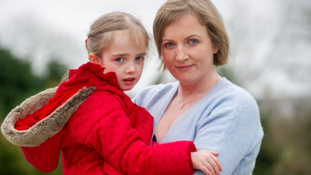Vera Twomey-Barry from Aghabullogue. Co Cork, and her daughter,/ Ava, who suffers from Dravet's Syndrome. Photograph: Daragh Mc Sweeney/Provision
