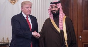 US president Donald Trump and the then Saudi  Defence minister, and now crown prince, Mohammed bin Salman,  in the  White House in March. Photograph: Nicholas Kamm/AFP/Getty Images