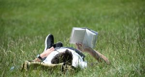 Reading a book during the heatwave in the Phoenix Park in Dublin. Photograph: Dara Mac Dónaill/The Irish Times