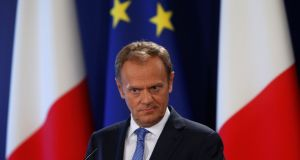 Donald Tusk: Leo Varadkar will meet the European Council president at Thursday morning's meeting of European People's Party leaders. Photograph: Darrin Zammit Lupi/Reuters