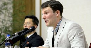 US student Otto Frederick Warmbier: was arrested in North Korea and died days after being evacuated back to the US in a coma. Photograph:   AFP/KCNA/ Getty