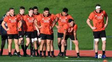 The All Blacks during training at Trusts Stadium, Auckland. Photo: Andrew Cornaga/Inpho