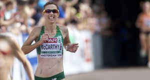 Claire McCarthy running the Women's Half Marathon at the 2016 European Athletics Championships in Amsterdam. Her selection for London was confirmed last month. Photograph: Karel Delvoije/Inpho