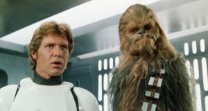 Harrison Ford as Han Solo and Peter Mayhew as Chewbacca in one of the original  'Star Wars' films.