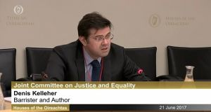 Barrister Dr Denis Kelleher before the Joint Committee on Justice and Equality on Wednesday.