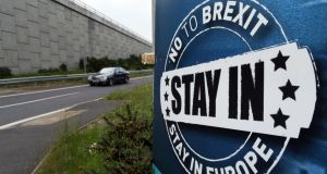 No to Brexit: a remain sign in Northern Ireland. A hard Brexit is expected to result in higher prices in the Republic, as UK multinationals pass on the cost of a weaker pound to consumers.  Photograph: Paul Faith/AFP/Getty
