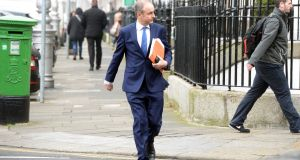 On the warpath: Fianna Fáil leader Micheál Martin strode into the Dáil  with the air of a man spoiling for a fight over the appointment of former attorney general Máire Whelan to the Court of Appeal.  Photograph: Eric Luke