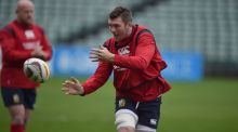British and Irish Lions captain Peter O'Mahony receives a pass during a training session in Auckland. Photo: Peter Parks/Getty Images