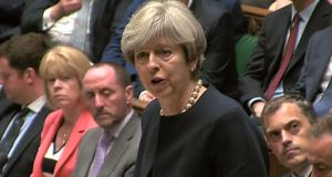 British prime minister Theresa May speaking in the House of Commons on Thursday. In an impassioned end to her address, she said more attention must be paid to poorer people in social housing. Photograph: AFP/UK Parliament