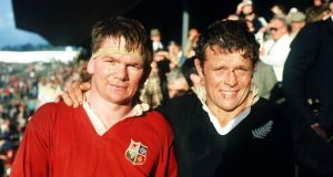 Ciaran Fitzgerald with All Black's captain Andy Dalton during the 1983 tour. Photo: Bob Thomas/Getty Images