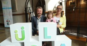 Alex Valadkevich (40), his wife Eugenia (36) from Belarus and their daughter Nina (3) in Kilkenny