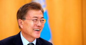 South Korean president Moon Jae-in says his country would not be stopping joint military drills with the US, as they are defensive. Photograph: Kim Hong-Ji/Reuters