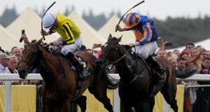 James Doyle and Big Orange hold off the late surge of Order of St George in the Ascot Gold Cup. Photograph: Toby Melville/Reuters