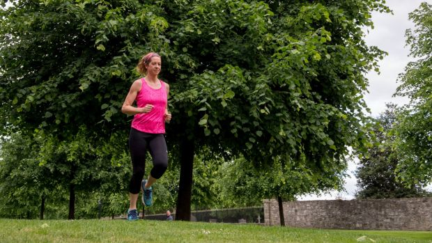 Anita Cody-Kenny excersing on the grounds of the Royal Hospital Kilmainham, Dublin. Photograph: Brenda Fitzsimons