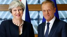The long goodbye: European Council president Donald Tusk with British prime minister Theresa May, June 22nd. Photograph: AP