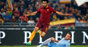 Liverpool's new signing Mohamed Salah in action for Roma. Photo: Tony Gentile/Reuters