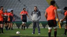 New Zealand's All Blacks coach Steve Hansen watches his players training during their captain's run ahead of the first Test against New Zealand. Photo: Peter Parks/Getty Images