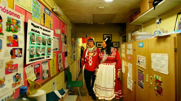 Gary White Deer and his wife Janie White Deer of the Choctaw nation in Oklahoma at Gaelscoil Cholmcille, Santry, Dublin in 2007. Photograph: Kate Geraghty