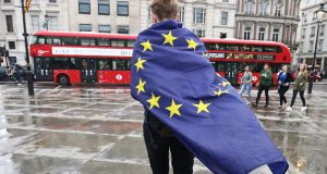 Friday's anniversary of the referendum passed almost unnoticed in London but Brexit haunts the city with fear of an economic downturn, a further depreciation of sterling and another squeeze on living standards. Photograph:  Justin Tallis/AFP/Getty Images