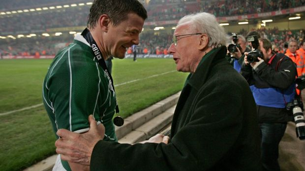 Brian O'Driscoll celebrates with Jack Kyle after the victory over Wales which secured Ireland the Grand Slam at the Millennium Stadium in Cardiff in March 2009. Photograph: Morgan Treacy/Inpho