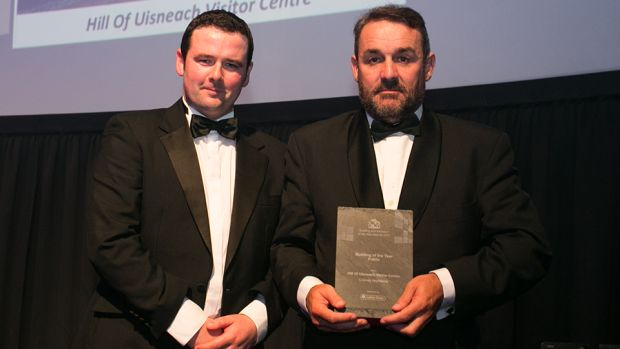 Eoin Ryan, Managing Director, The Galtee Group presents the Building of the Year – Public Award to Frank Cooney, Cooney Architects.