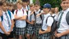 Teenage boys turned up at school on Thursday morning dressed in skirts in protest at strict uniform codes. Photograph: BBC/Apex