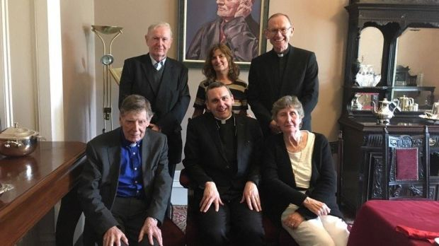 Fr Ignatius McCormack (front, centre), the new principal of St Flannan's College, Ennis, and Bishop Fintan Monahan (back right), with trustees of the school