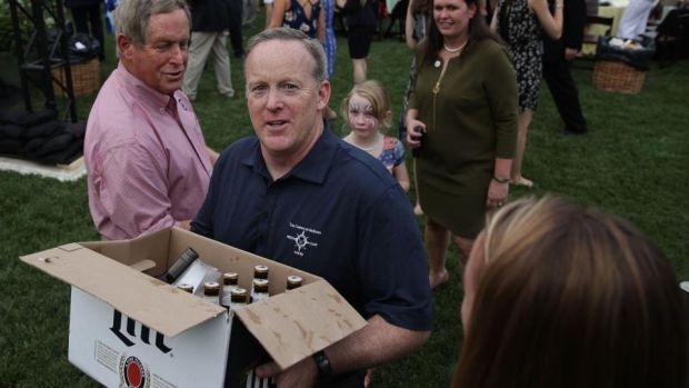 No walk in the park: Sean Spicer, the White House press secretary, at a congressional picnic on Thursday. Photograph: Alex Wong/Getty