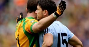Donegal's Neil McGee subjected  Bernard Brogan to an hour  of intense, up close and personal scrutiny in the 2011 All-Ireland semi-final. Photograph: James Crombie/Inpho